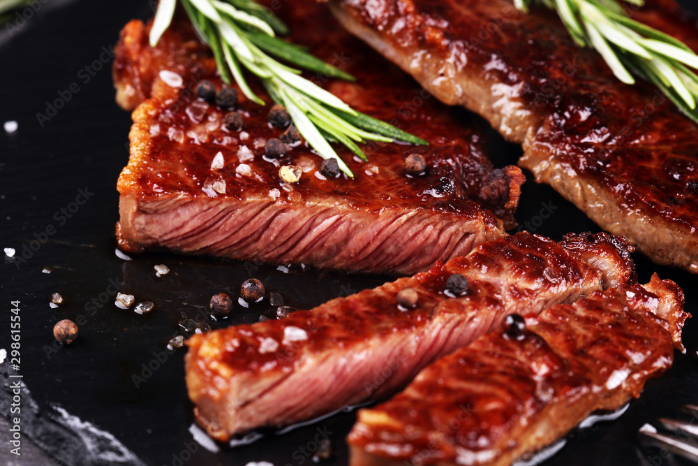 Fototapety, obrazy: Barbecue Rib Eye Steak or rump steak - Dry Aged Wagyu Entrecote Steak on rustic background