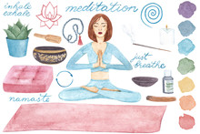 Meditation Space Set. Watercol...