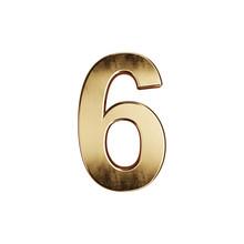Golden Alphabet Digit Character 6 Font
