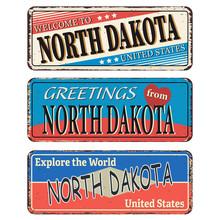 Vintage Tin Sign With America State North Dakota Retro Souvenir Or Postcard Template On Rust Background.