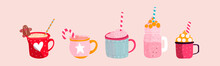 Set Of Cup Of Hot Chocolate. Trendy Vector Illustration. Eps 10.