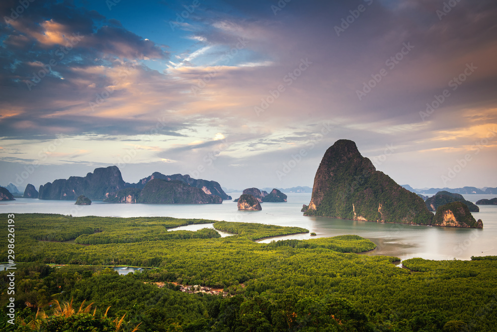 Fototapety, obrazy: Natural Landscape Scenery View of Phang Nga Island at Sunset, Amazing Panorama Scenic of Nature Rainforest Andaman Sea. Beautiful Viewpoint and Travel Destination of Seashore Thailand.