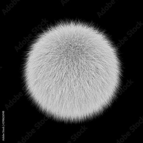 Fotomural  White fluffy ball, fur pompon isolated on black