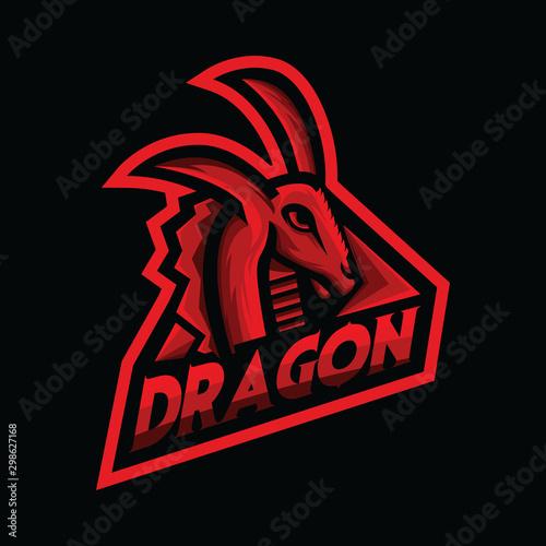 Photo  Dragon mascot logo design vector with modern illustration concept style for badge, emblem, brand