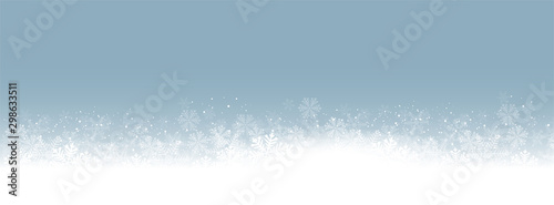 Panorama Blue Background white snowflakes vector illustration eps10 Wallpaper Mural