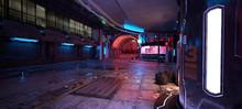 Cyberpunk City Street. 3D Illustration. Futuristic City At Night. Cityscape With Colorful Neon Lights. Grunge Urban Landscape.