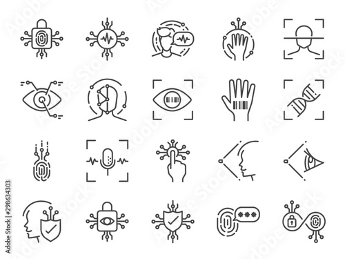 Fotomural  Biometric line icon set
