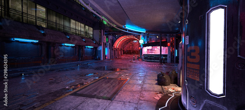 Cyberpunk city street. 3D illustration. Futuristic city at night. Cityscape with colorful neon lights. Grunge urban landscape. - fototapety na wymiar