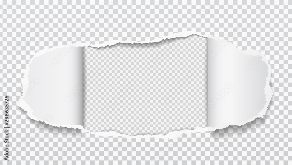 Fototapeta Torn realistic paper hole on squared transparent background. Vector illustrations