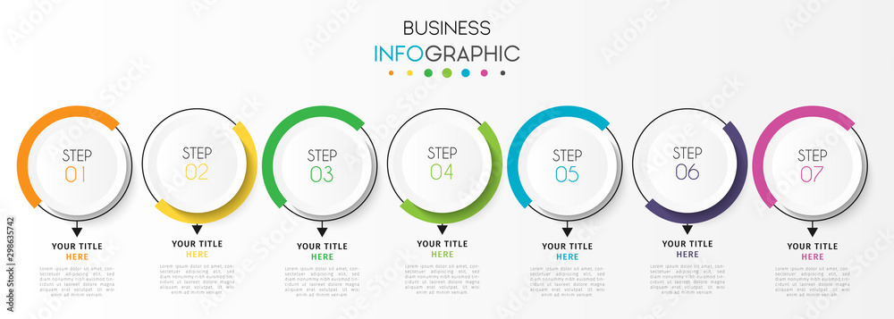 Fototapeta Business infographic element with 7 options, steps, number vector template design