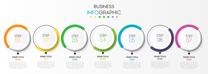 Business infographic element with 7 options, steps, number vector template design
