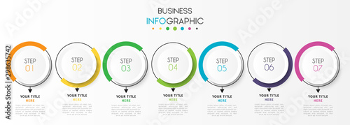 Business infographic element with 7 options, steps, number vector template desig Wallpaper Mural