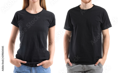 Fotografia Young people in stylish t-shirts on white background