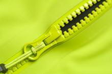 Close-up Fragment Of A Green Windbreaker