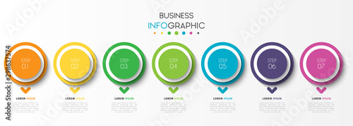 Fototapeta Business infographic element with 7 options, steps, number vector template design obraz