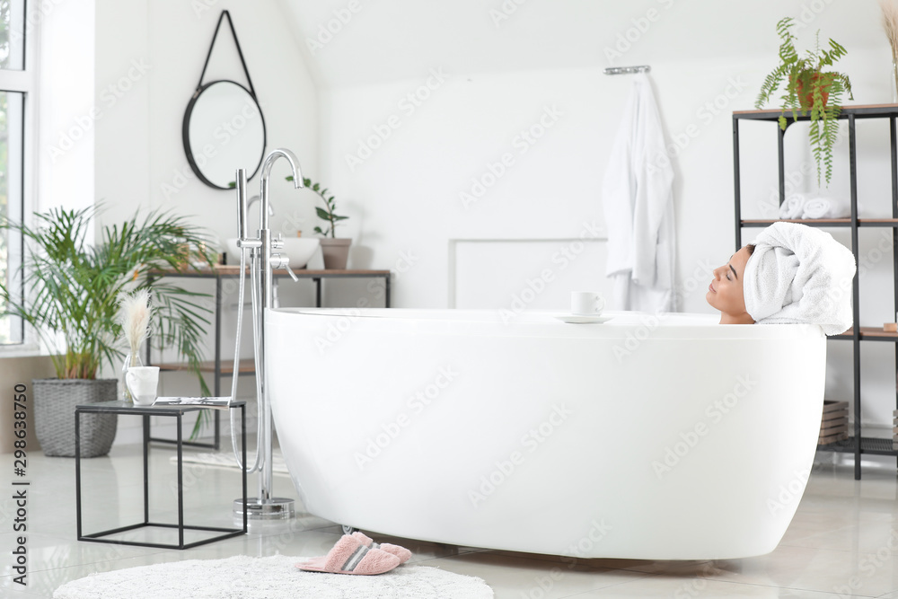 Fototapeta Morning of beautiful young woman taking bath