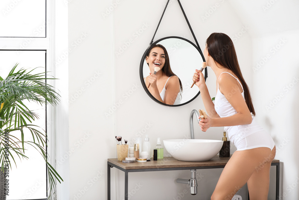 Fototapety, obrazy: Morning of beautiful young woman singing in bathroom