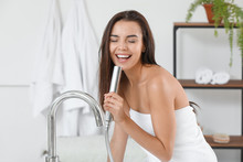 Morning Of Beautiful Young Woman Singing In Bathroom