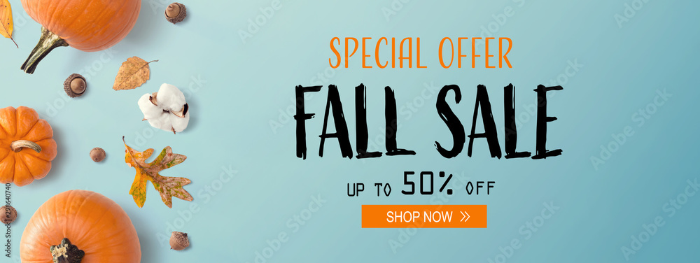 Fototapety, obrazy: Fall sale banner with autumn pumpkins with leaves