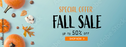 Pinturas sobre lienzo  Fall sale banner with autumn pumpkins with leaves