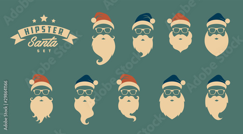 Cuadros en Lienzo  Vector set of faces with Santa hats, mustache and beards
