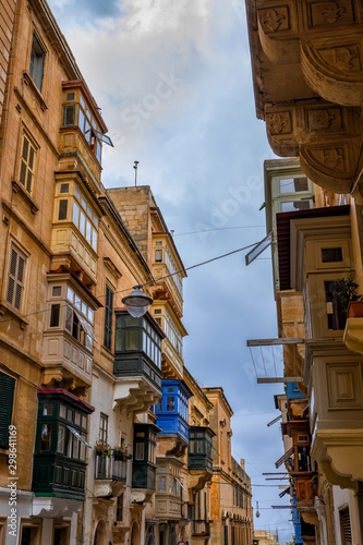 Traditional Houses With Balconies In Valletta