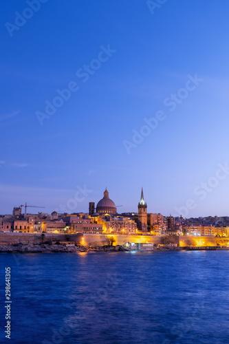 City of Valletta in Malta at Dusk