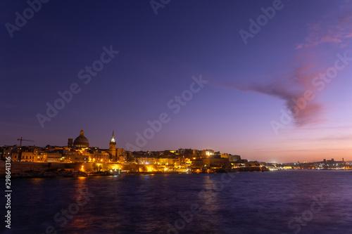 Valletta Skyline At Twilight In Malta