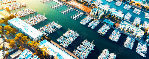Aerial view of the Marina del Rey seaside community in Los Angeles Canvas Print