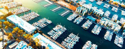 Obraz Aerial view of the Marina del Rey seaside community in Los Angeles - fototapety do salonu