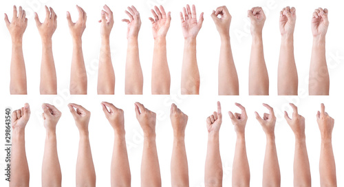 Fototapety, obrazy: GROUP of Male asian hand gestures isolated over the white background. Soft Grab and Touch Action.