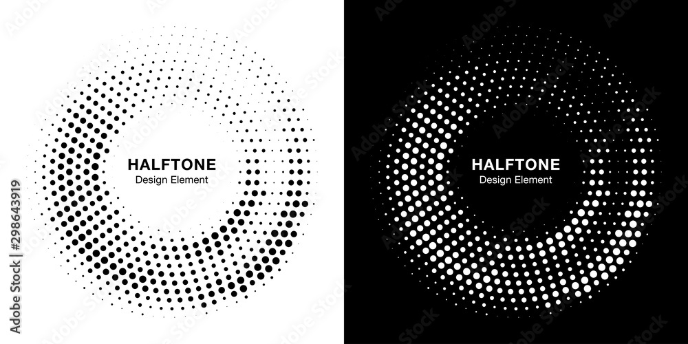 Fototapeta Halftone circle dotted frame circularly distributed. Vector dots logo emblem design set. Round border Icon using random halftone circle dot raster texture. Half tone circular background pattern.