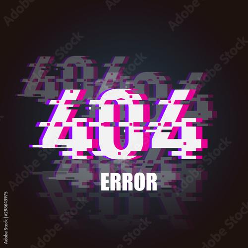 Fotografie, Obraz 404 Error glitch neon banner