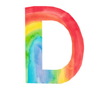 Watercolor Illustration Of A Decorative Element Of The Letter D Of The Alphabet Kids Design Texture Rainbow