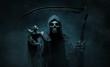Leinwandbild Motiv Grim reaper reaching towards the camera over dark, misty background with copy space