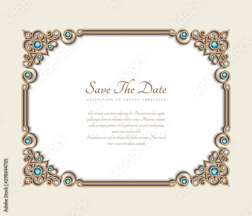 Fototapeta Vintage Photo Frame Save The Date Card With Jewellery Corner Patterns Jewelry Gold Decoration With Diamonds And Emerald Gems Wedding