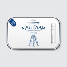 Packaging For Seafood. Label For Boxing Natural Products. Canned Sardines In Oil.