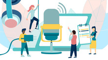 Online Training, Podcast, Radio. Podcast Concept Illustration. People Working Together For Creating Podcast. Isolated Illustration