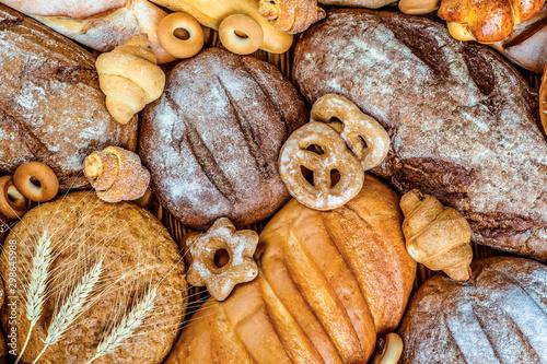 Papiers peints Boulangerie Fresh fragrant bread on the table. Food concept