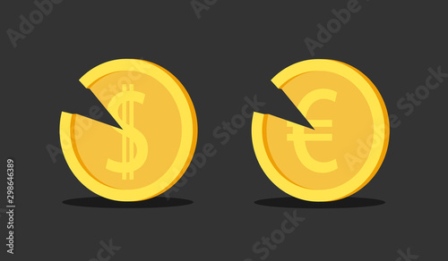 Fotomural  Inflation and currency loss of value - degradation, deterioration, derease, devaluation, depreciation and worsening of coin