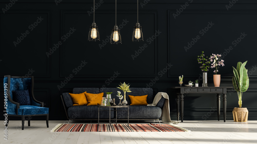 Obraz Modern interior design of a living room in an apartment, house, office, comfortable sofa, fresh flowers and bright modern interior details on a dark wall background. fototapeta, plakat