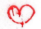 Fototapeta Młodzieżowe - Red spray stain, graffiti heart isolated on white background, clipping path