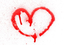 Red Spray Stain, Graffiti Heart Isolated On White Background, Clipping Path