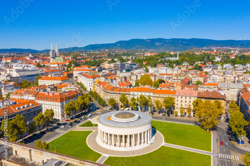 Aerial drone view of Mestrovic pavilion, monumental art gallery and city centre on sunny summer day, Zagreb, Croatia - 298652592