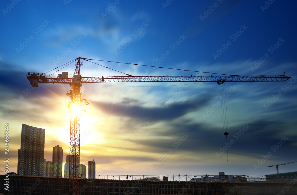 Fototapety, obrazy: Tower cranes, skyscrapers on construction sites