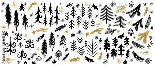 New Year, Christmas tree branches black brush strokes sketch markers pen. Christmas different stars frost snowflakes collection. Hand drawn vector illustration.
