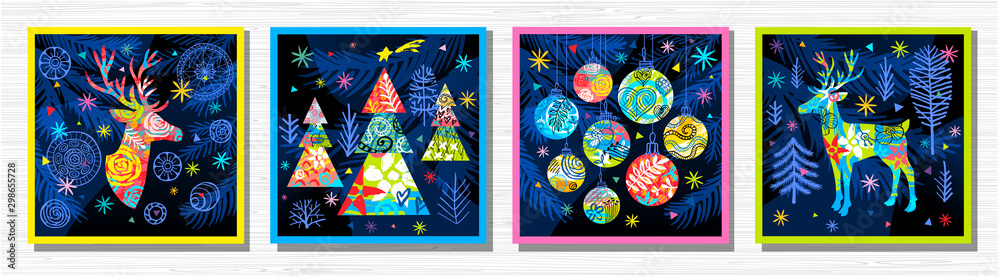 Fototapety, obrazy: Happy New Year, Merry Christmas, Noel colorful greeting banner. Christmas tree branches decoration ball snowflakes frost stars deer ornament pattern. Hand drawn vector illustration.