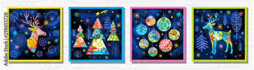 Fotografía  Happy New Year, Merry Christmas, Noel colorful greeting banner