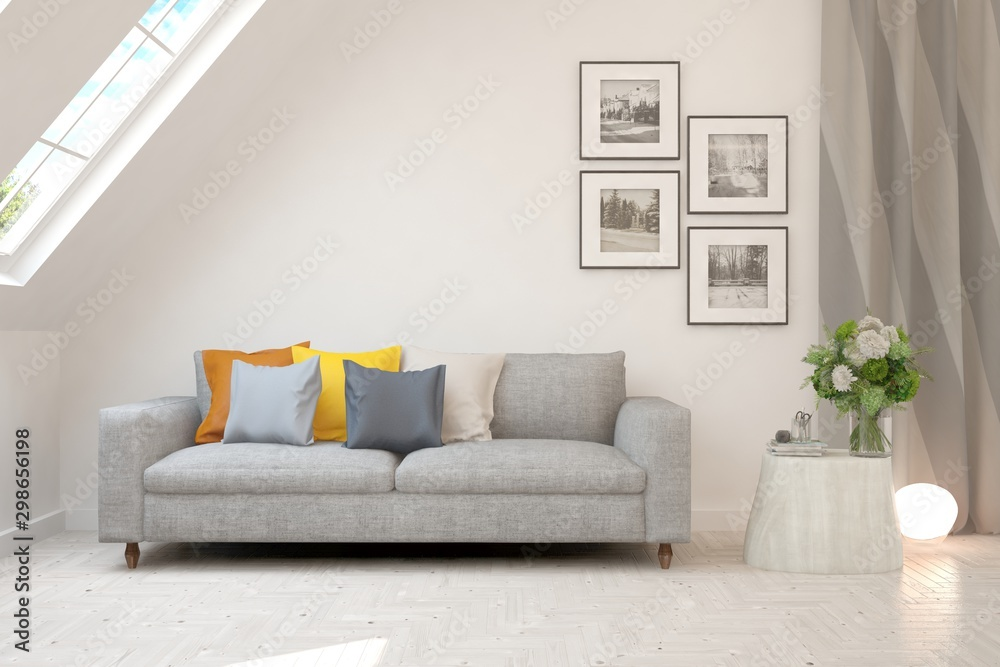 Fototapeta Stylish room in white color with sofa. Scandinavian interior design. 3D illustration