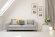 canvas print picture - Stylish room in white color with sofa. Scandinavian interior design. 3D illustration